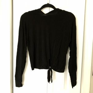 Forever 21: Hooded Front-tie Workout Shirt